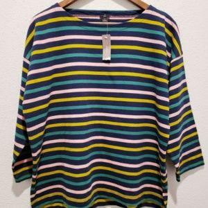 J.Crew Striped Wide Neck Lightweight Sweater Sz M